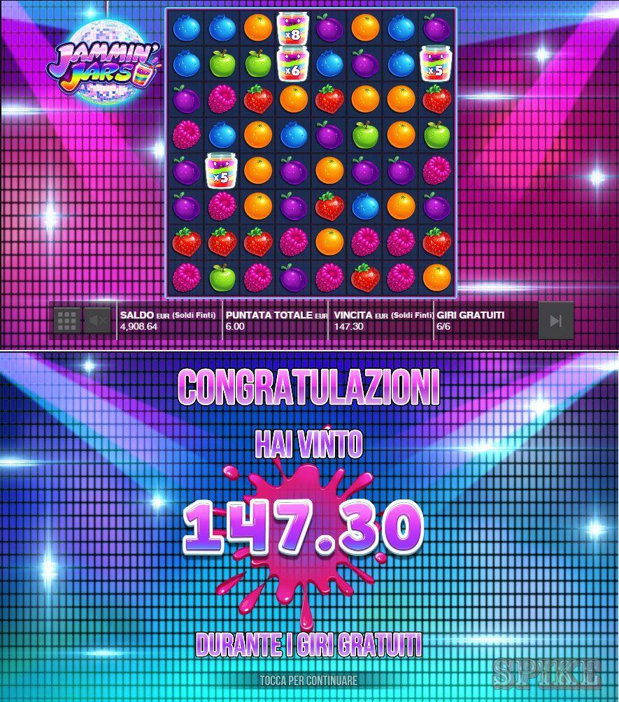 Gameplay della Slot Online Jammin' Jars con Wild e Big Win